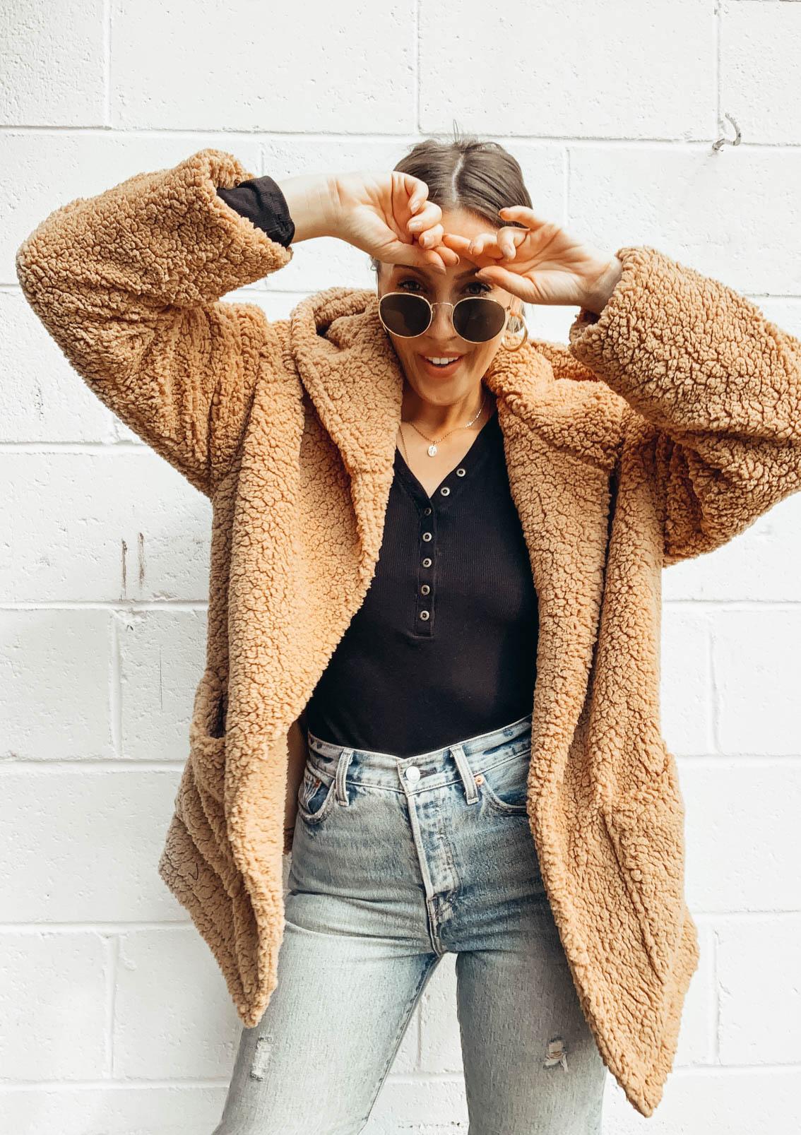 hooded teddy jacket