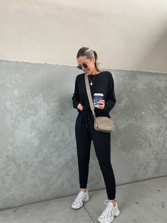 black matching jogger set